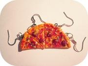 Серьги ручной работы (пицца!)