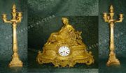 Великолепный каминный гарнитур «МУЗА» - часы с канделябрами,  Франция