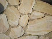 Камень Бело-жёлтый с разводами природный натуральный песчаник пластушк